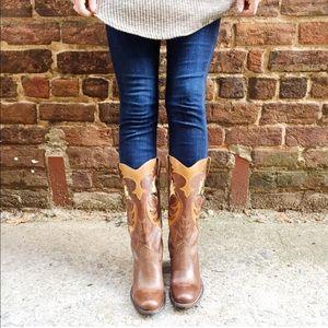 Leather Boho Western Cowboy Boots